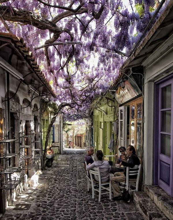 Idyllic street scene in Molyvos, Lesbos Island, Greece