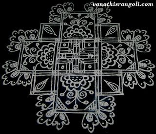 Drawn this simple padi Kolam /Rangoli with flower design. Its exam time to teach kids and all mom's busy with their kids like me. So I did...