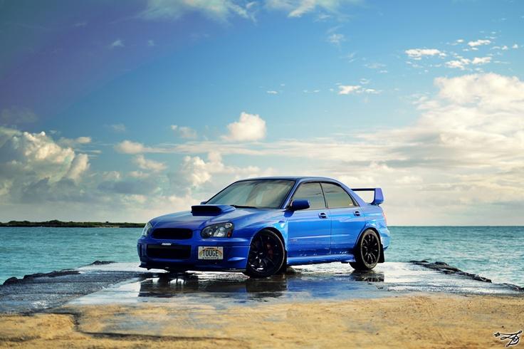 Blue Subaru Impreza WRX STI
