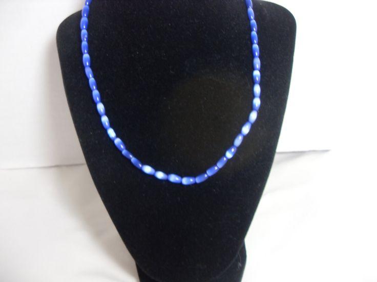Blue Cat's Eye necklace, Oval Beads, Blue gemstone necklace, Southwestern necklace, Boho blue Necklace, gift for her, Gingerslittlegems by GingersLittleGems on Etsy