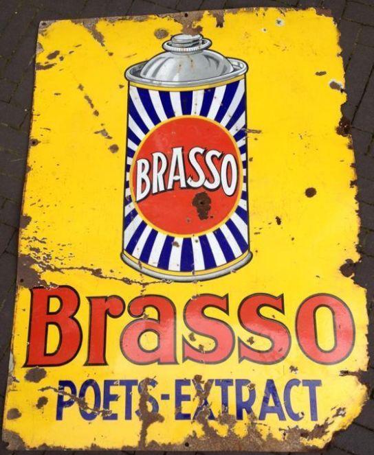 Brasso - Poets-Extract - geëmailleerd reclamebord - afmetingen 90 x 120 cm