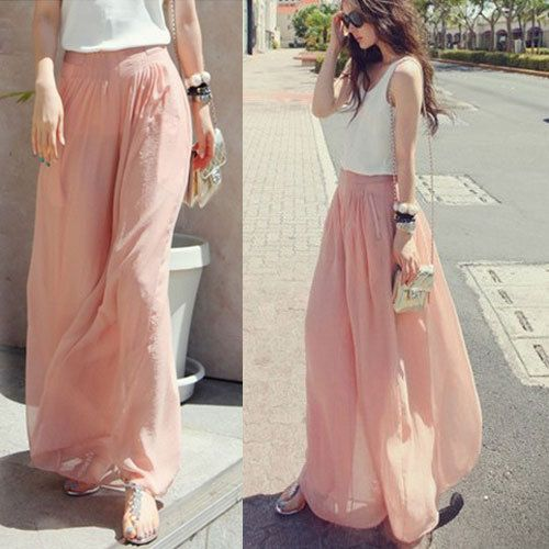 New Women's Casual Long Wide Leg Pants Chiffon Skirt Pants Trousers Fashion Skorts culottes Harem Pants $12.99