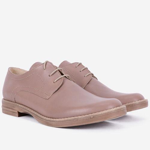 Pantofi Oxford bej din piele naturala Dorota