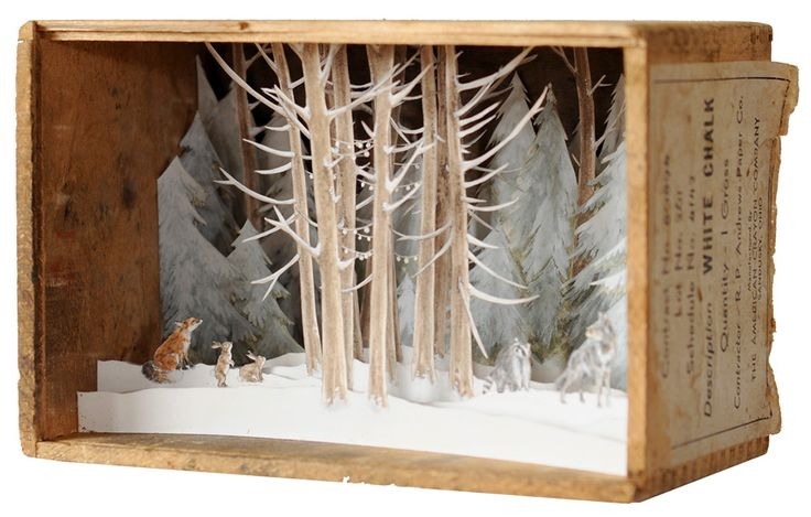 Artist Allison May Kiphuth captures scenes inspired by her surroundings in Maine and along the New Hampshire sea coast by squeezing them into small wooden boxes scarcely a few inches wide. Her mixed media dioramas are constructed from layered ink and watercolor illustrations assembled with pins