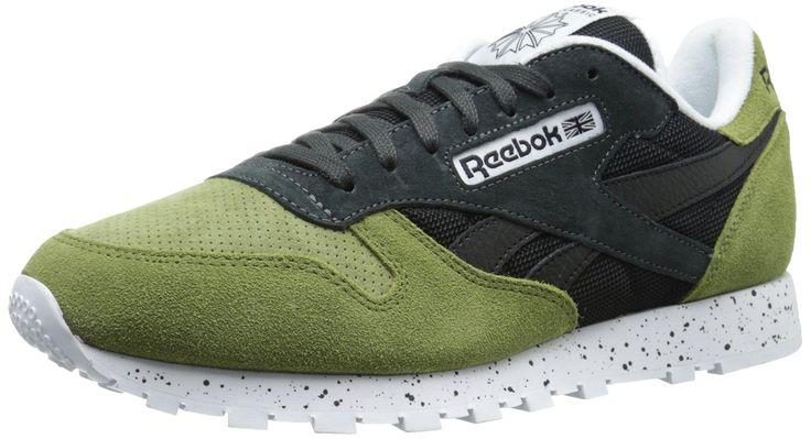 Reebok Men's Classic Leather SM Shoe, Warm Olive/Black/Gravel/White, 13 M US