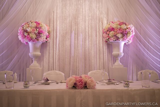 Pink Head Table Flowers