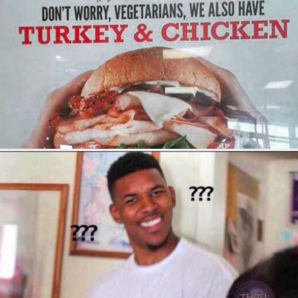 """When people don't seem to understand what """"vegetarian"""" means: 