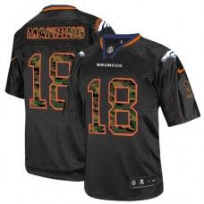 Nike Elite Men's  Denver Broncos #18 Peyton Manning Camo Fashion Black NFL Jersey
