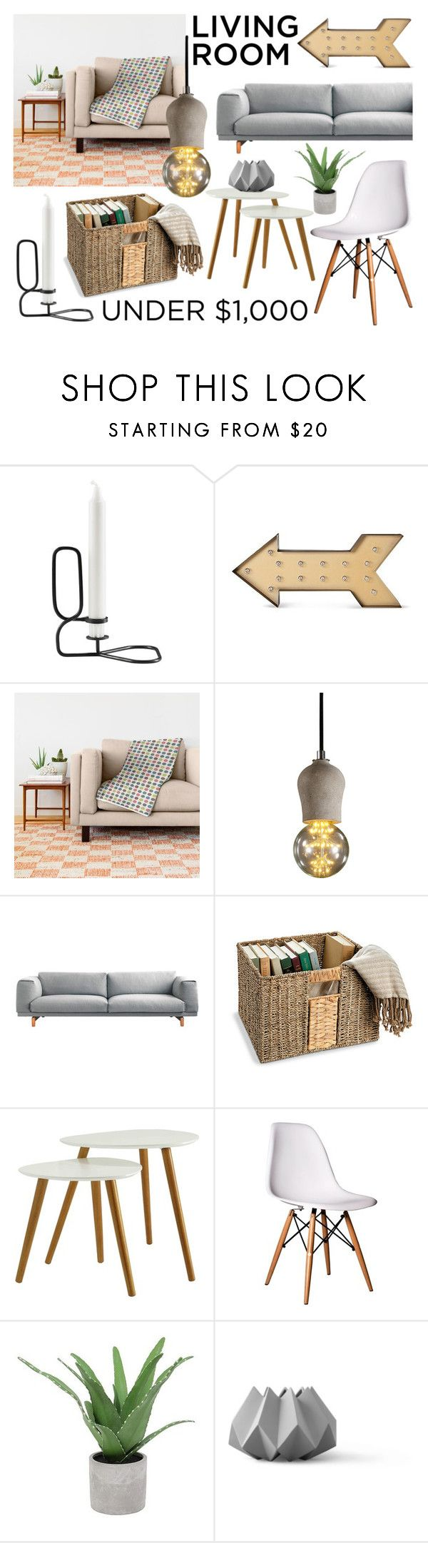 """Under $1000 Living Room"" by by-jwp ❤ liked on Polyvore featuring interior, interiors, interior design, home, home decor, interior decorating, HAY, Convenience Concepts, Threshold and Menu"