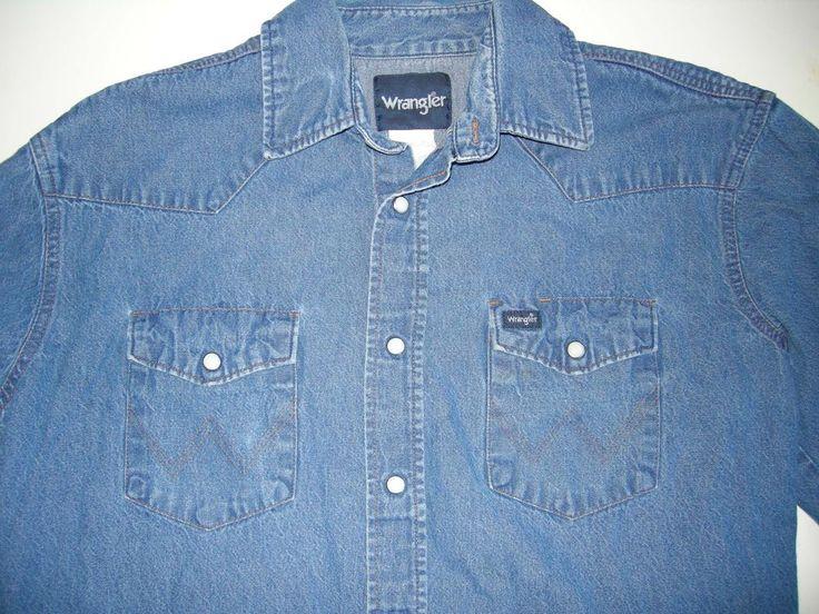 Wrangler Denim VTG Blue Jean Pearl Snap Distressed Rockabilly Shirt Men's L #1 #Wrangler #ButtonFront