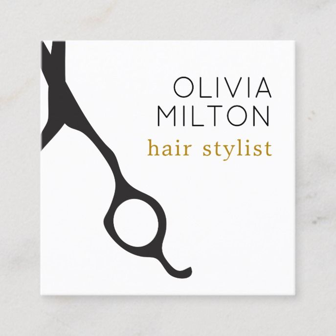 Elegant Minimal Black Scissors Hairstylist Square Business Card