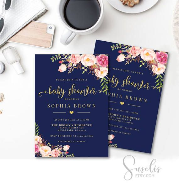 Navy Blue Baby Shower Invitation Floral Printable Baby Shower