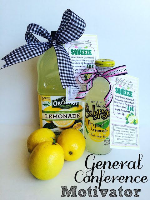 General Conference Treat {Motivator}. Just add lemonade. FREE PRINTABLE TAGS by Marci Coombs.