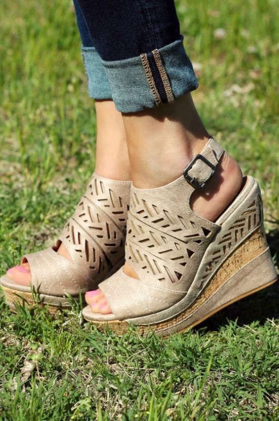 Our Patia Wedges are what Summer is made of! It's an open toed wedge with cork platform that has faux leather detail. Laser cut print. Very comfortable and trendy! #southernfriedchics