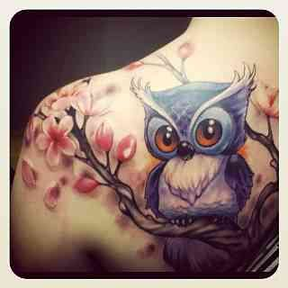Owl & Cherry Blossoms tattoo