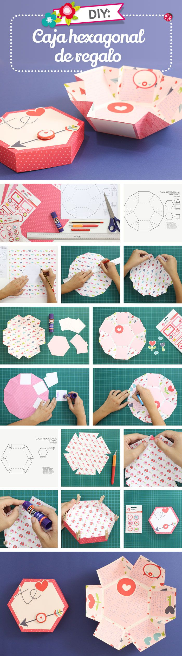 Aprender a realizar aquí una caja de papel hexagonal paso a paso. Una original caja sorpresa hecha con papel y adornos scrap de Anita y su mundo.