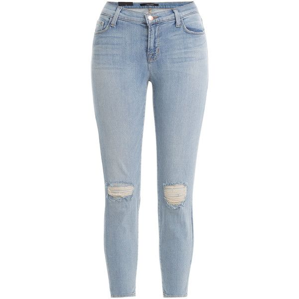 J Brand Jeans Mid-Rise Cropped Jeans (650 RON) ❤ liked on Polyvore featuring jeans, pants, bottoms, blue, zipper skinny jeans, mid rise skinny jeans, ripped jeans, distressed skinny jeans and super skinny jeans
