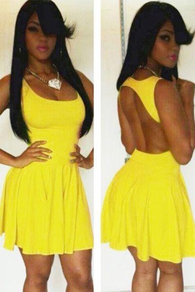 Lemon Green Slash Scoop out Skater Dress