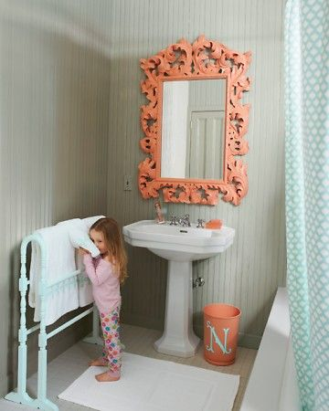 Love the mirror!: Bathroom Design, Mirror, Colors Combos, Idea, Kids Bathroom, Quilts Racks, Towels Racks, Girls Bathroom, Design Bathroom