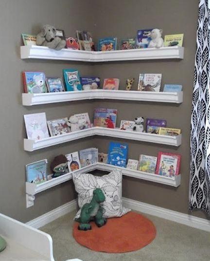 DIY Rain Gutter Kid's Bookshelves...why KIDS bookshelves? Why not for GROWN-ups too?!