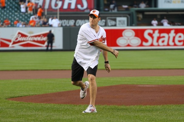 Brooks Laich Throws Out First Pitch at Baltimore Orioles Game 5/20/13