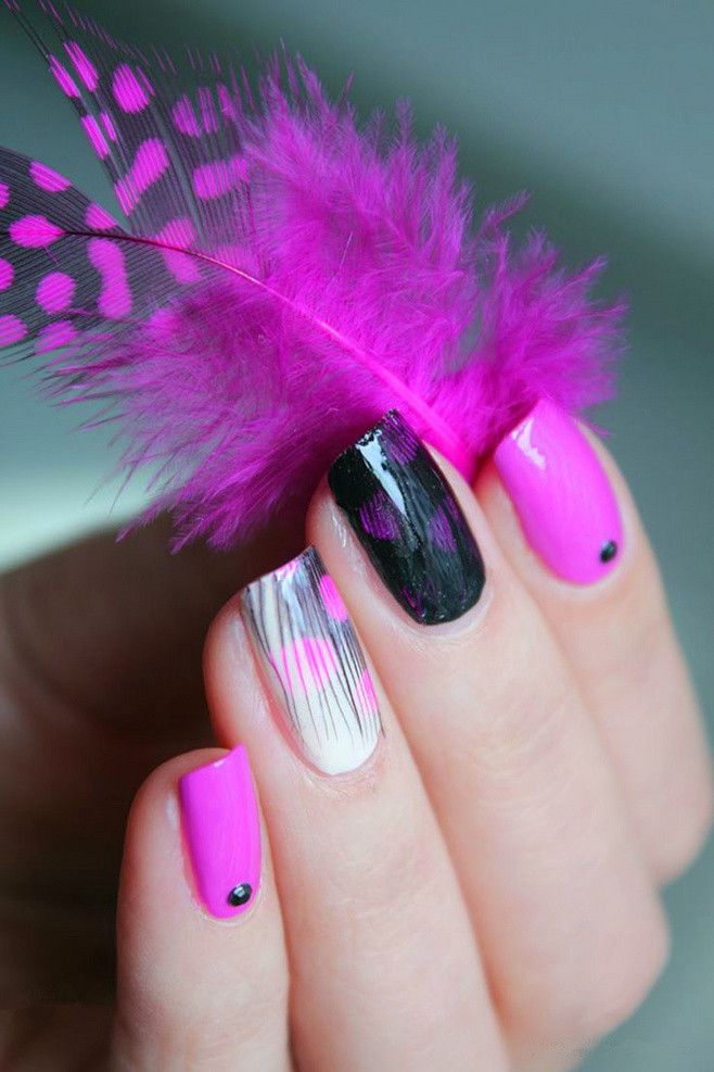Nail Art Trend In 2014, pink and black feather