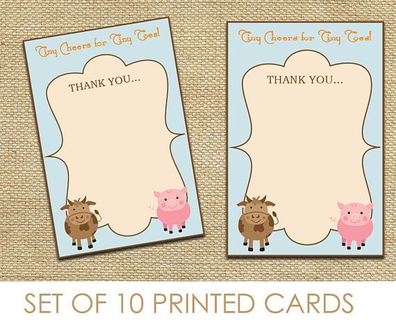Farm Animal Themed Thank You Card Baby Shower Game Set of 10. Click through to find matching games, favors, thank you cards, inserts, decor, and more.  Or shop our 1000+ designs for all of life's journeys. Weddings, birthdays, new babies, anniversaries, and more. Only at Aesthetic Journeys