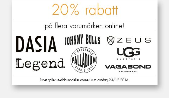 20% rabatt på utvalda varumärken