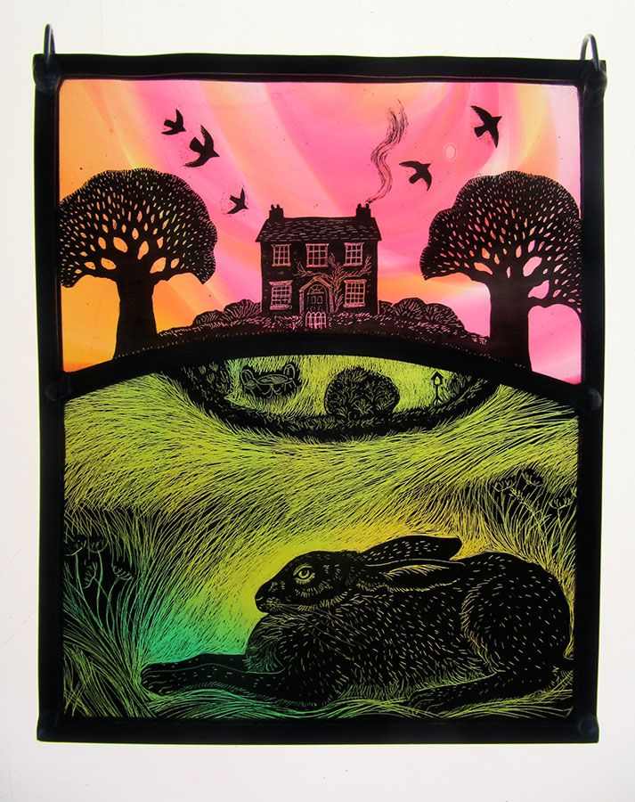 """Sunset House"" by stained glass artist Tamsin Abbott"