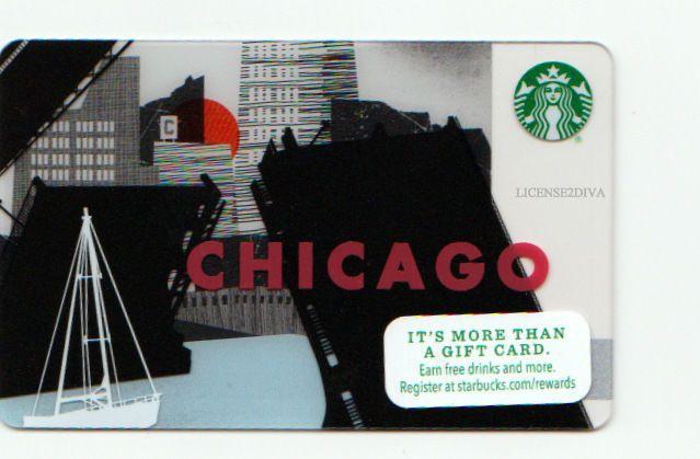 STARBUCKS GIFT CARD! CHICAGO LOGO! NEW! PERFECT GIFT! EARN DRINKS! FREE USA SHIP #STARBUCKS