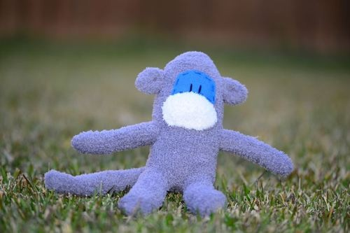 sock monkey / Handmade grey soft toy / gift