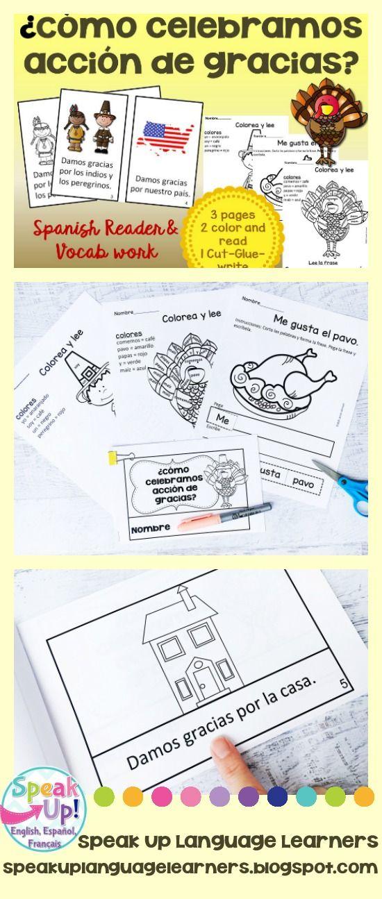 ¿Cómo celebramos acción de gracias? Spanish Thanksgiving Reader & Vocab work