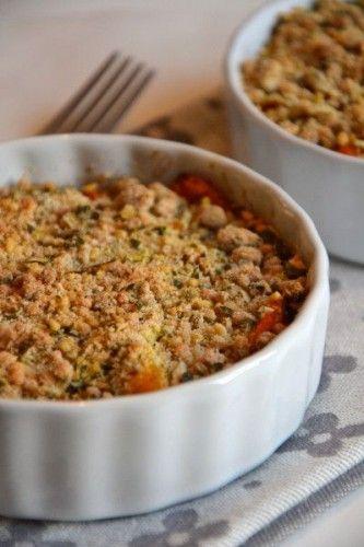 crumble de potimarron et légumes d'automne, recette potimarron, recette halloween, recette citrouille