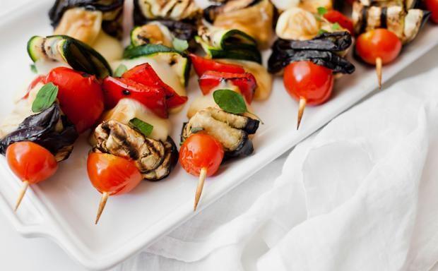 Spiedini scamorza e verdure grigliate
