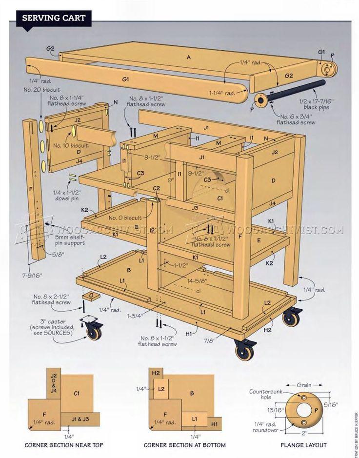 #208 Serving Cart Plans - Furniture Plans