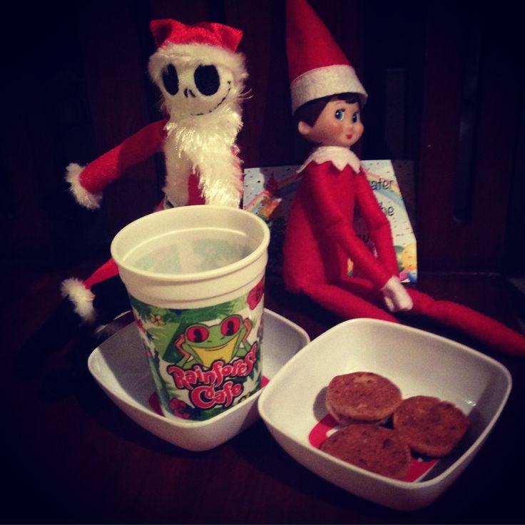 Sparkle the elf on the shelf and jack skellington leave some snacks for Santa 2016