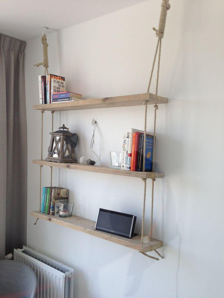 17 beste idee u00ebn over Touw Planken op Pinterest   Planken ophangen, Planken en Hoeklegborden