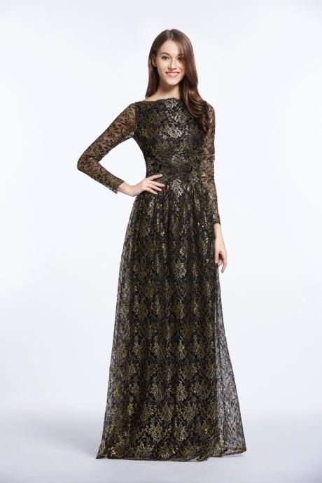 Golden Black Long Sleeves A-Line Boat Neck Evening Dress Vintage Style Embroide Prom Dress