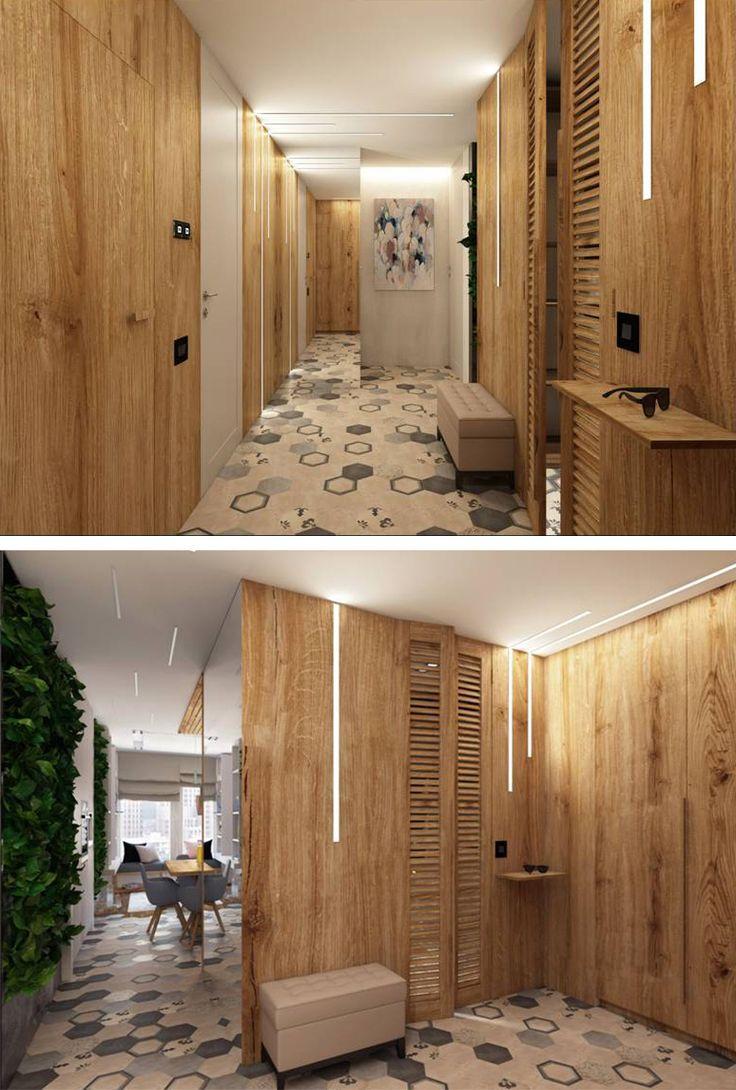 Mid Century Modern Style Hallway By Anna Spirina Interior Design Course Student In European School Kiev Ukraine