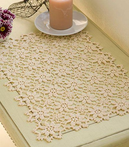 How I wish I could crochet without my hand cramping up!  Crochet lace pattern page: http://www.ravelry.com/patterns/library/apple-blossom-placemat