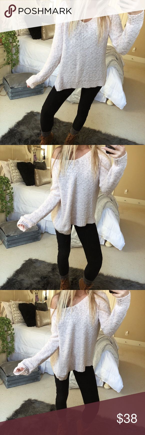 pale blush cozy knit beautiful pale blush chunky, slouchy knit sweater. super cozy and cute! fits a size medium or large 💐🍃🌻 — * all offers 100% welcomed + encouraged * bundle for a private discount of at least 20% off  * orders guaranteed to ship within 1-2 days unless stated otherwise * ask me any questions if you ever have any! xo Sweaters