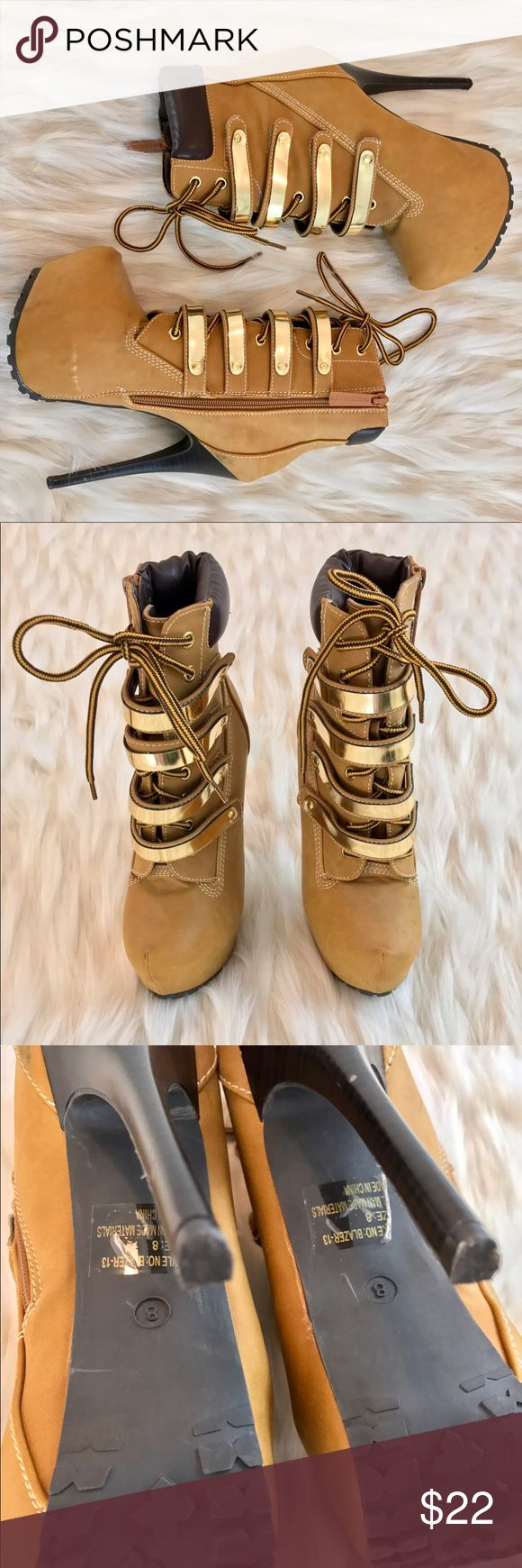 combat timberland style platform booties These timberland style combat booties have gold straps. Very Destinys Child Survivor vibe! Only worn once! True to size! Shoes Heeled Boots