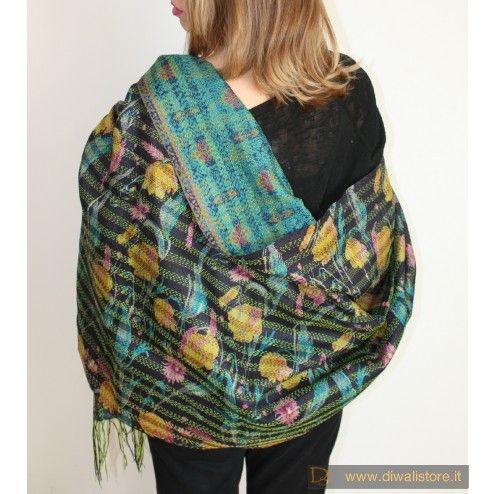 Kantha - tessuto tradizionale trapuntato in seta doublefaces blu notte, viola e verde - Scialli, Sciarpe e Stole Orientali in Seta - Sciarpe e Borse Etniche - Diwali Store