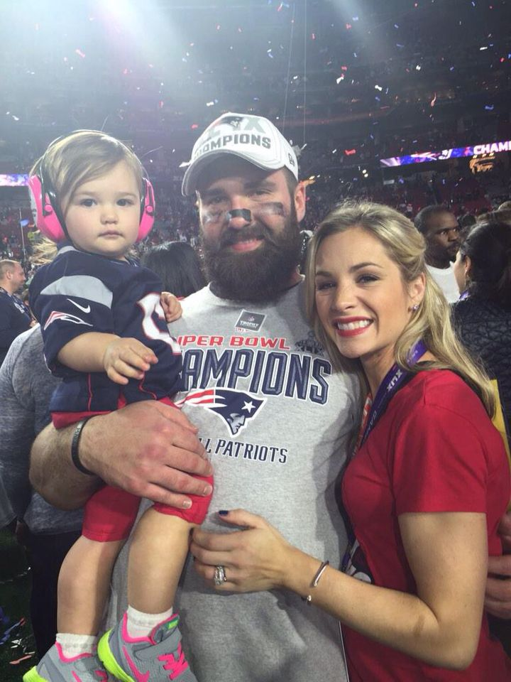 New England Patriots are Super Bowl XLIX Champs; Rob Ninkovich with his wife & daughter