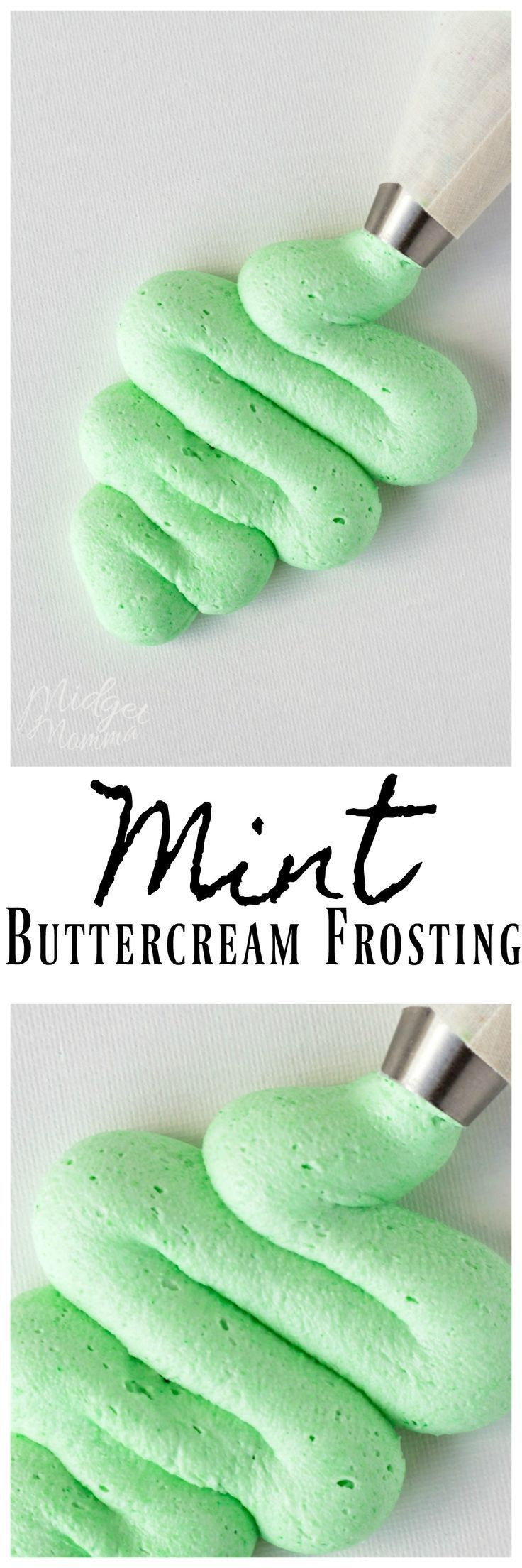 Mint Buttercream Frosting. This amazing Mint Buttercream Frosting tastes just like you get from a bakery and goes perfect with cupcakes and cake! #frosting #cake #cupcake #icing #Mint