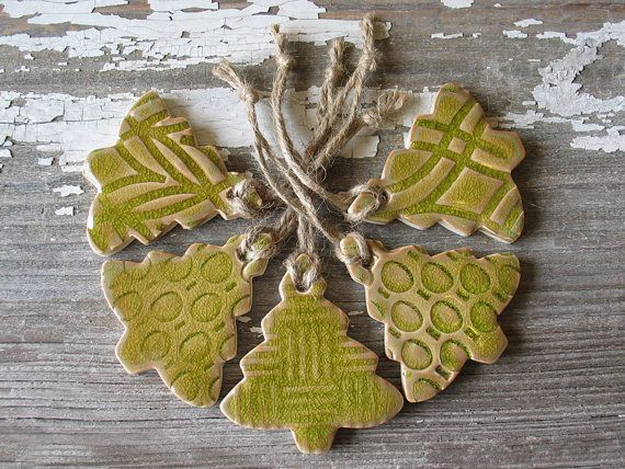 5 Peridot Green Christmas Tree Ornaments - Set of 5 Pottery Christmas Ornament - Various patterns