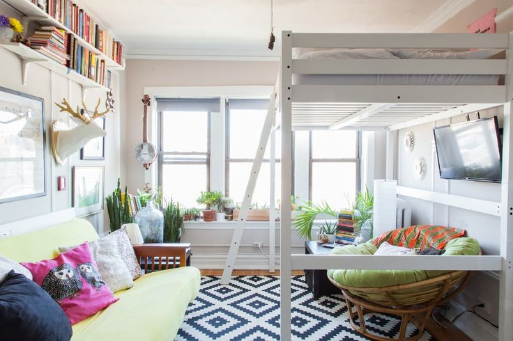 Andy & Danielle's Cozy, 325 Square Foot Chicago Studio |  STORÅ full/double Loft bed frame, in white