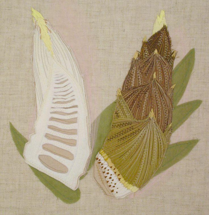 """""""banboo shoot""""  needlework illustration Ⓒ Nagako Ono HAPPa_Ya #embroidery #vegetables"""
