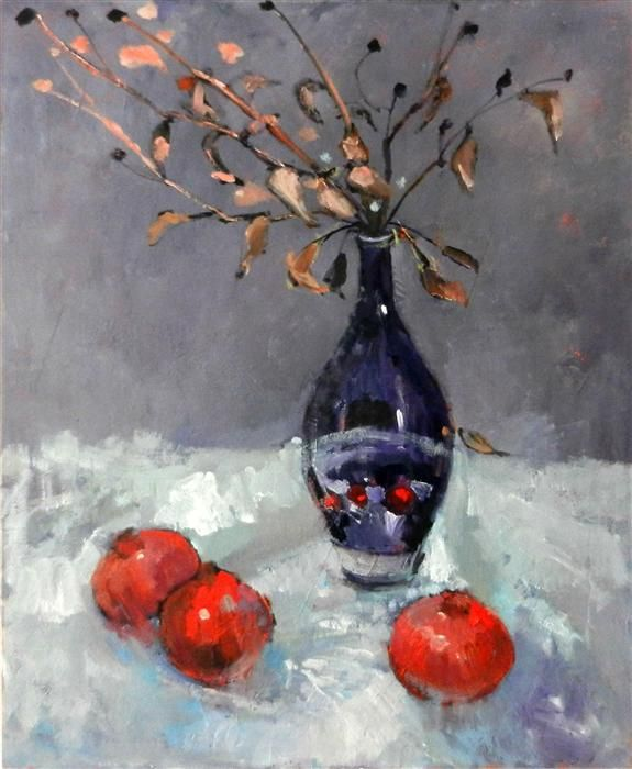 Original art for sale at UGallery.com   Pomegranates by Mary Pratt   oil painting   36' h x 30' w