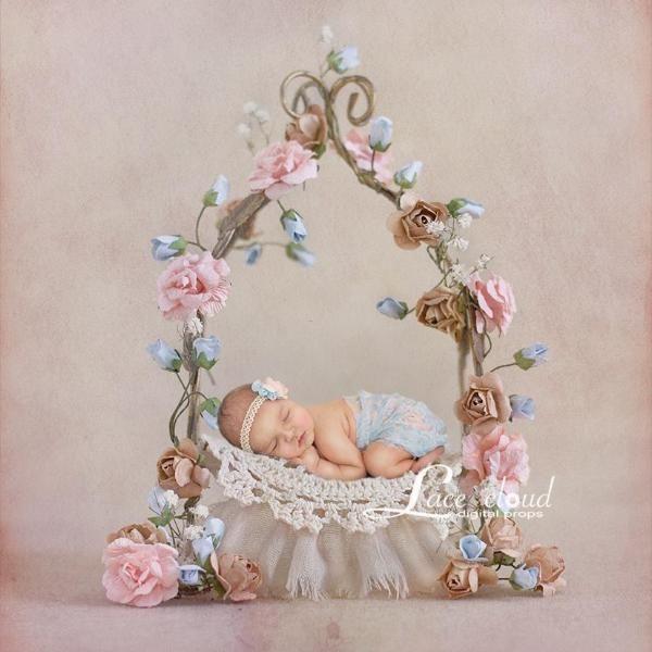 Newborn Digital Backdrop Vintage Iron Flowers Bed For Little Princess Newborn Photography Girl Newborn Photography Newborn